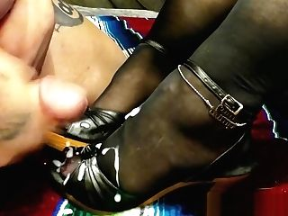 Servitude And Jism On Retro Wood High Heel Sandals With Black Pantyhose